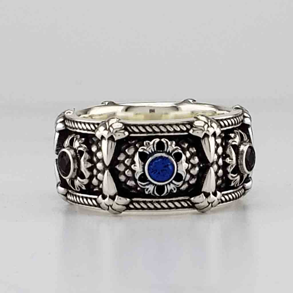 RELIC OF THE DRAGON LORD with 3mm Lab-Created Blue Sapphires & Black Spinels - 14KT $1499 Sterling $279