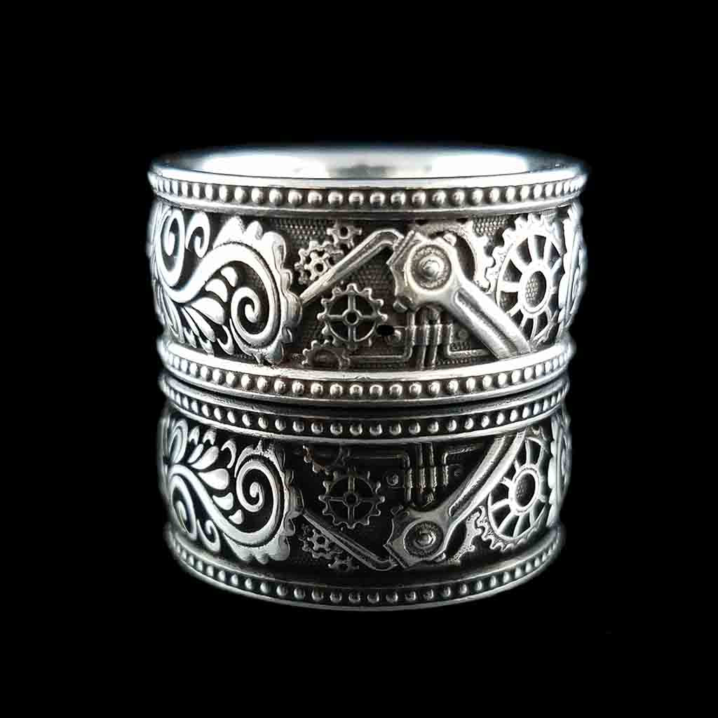 STEAMPUNK ALHAMBRA Band - Sterling $209 14KT $1299 - Celtic Jewelscapes