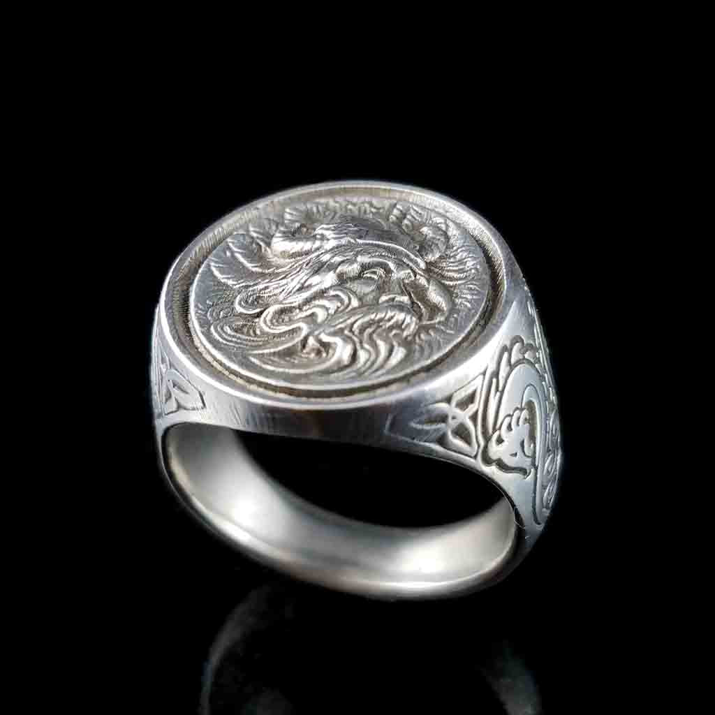 VIKING ODIN Ring in Antiqued Sterling Silver $199 or 14KT Gold $1299 - Celtic Jewelscapes