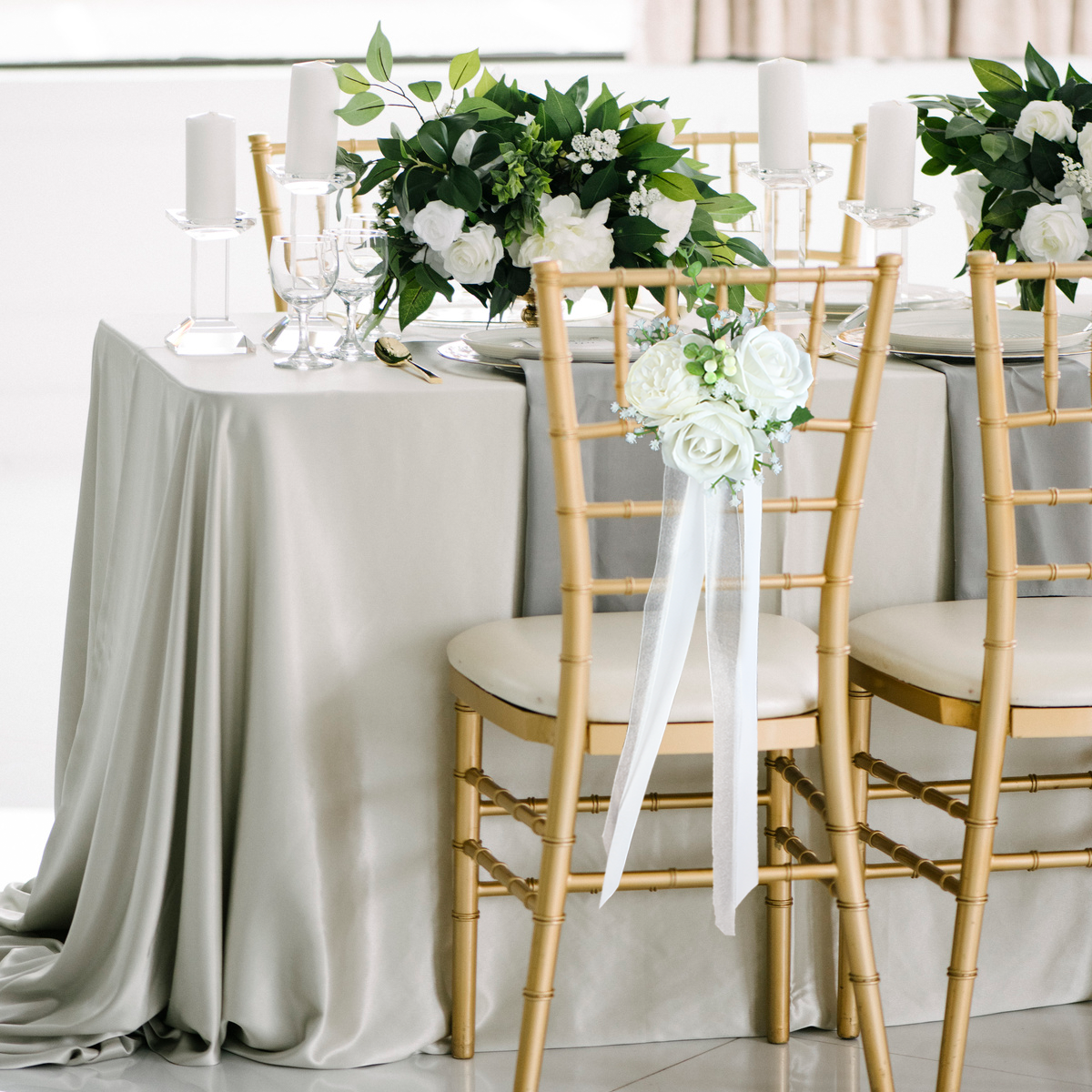 White Roses Chair Decor