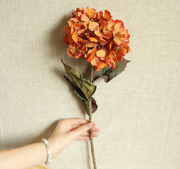Artificial Hydrangea Burnt Orange - 28""