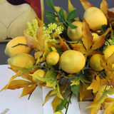Rinlong Artificial Flowers Bouquets Lemon Decor Silk Flower Arrangements Maple Leaves Farmhouse Style Centerpieces for Dining Table Home Kitchen Party Office Fall Decoration