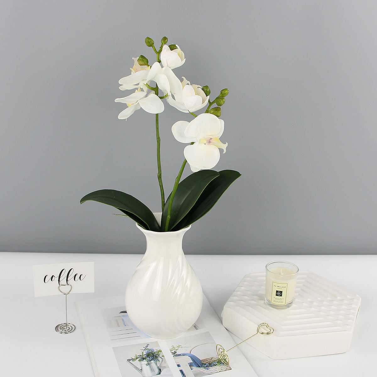 Orchid with Leaves White - 17""