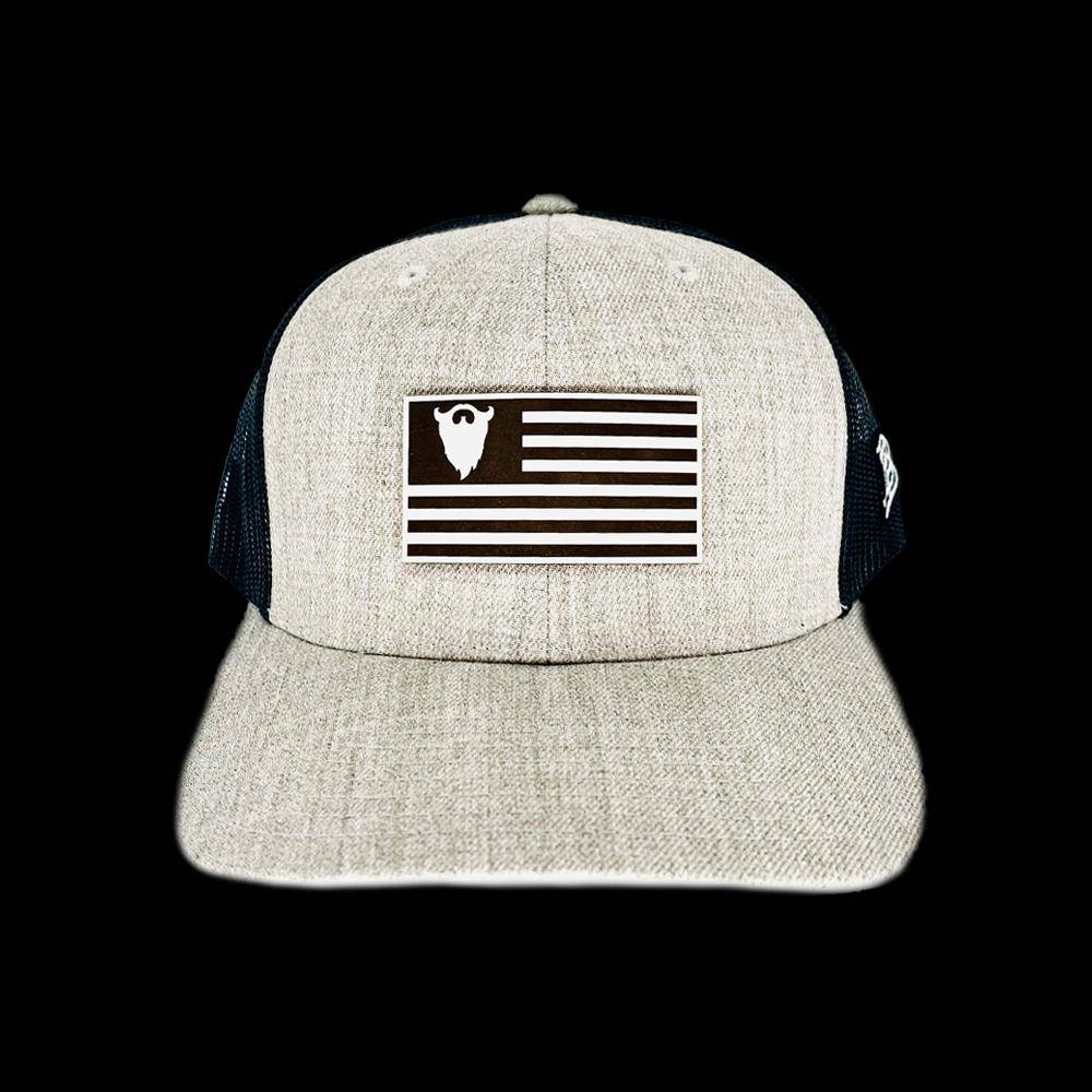 BEARD OCTANE LEATHER FLAG PATCH TRUCKER HAT - Beard Octane