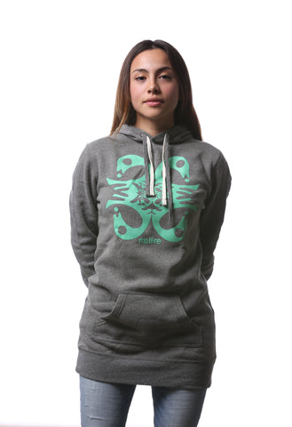 quadbird - nickel grey pullover hoodie dress