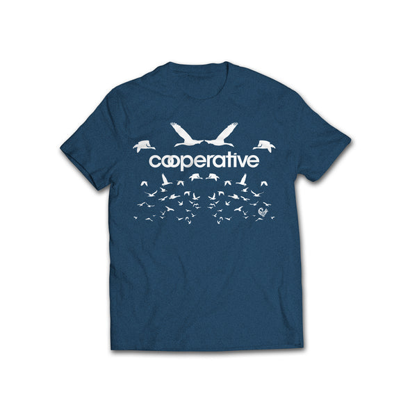 Rootfire Cooperative Flock T-Shirt (Heather Navy)