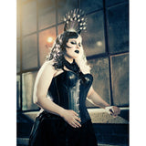 Black Genuine Leather Over Bust Corset