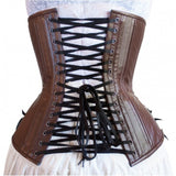 Long Cut Brown Leather Corset