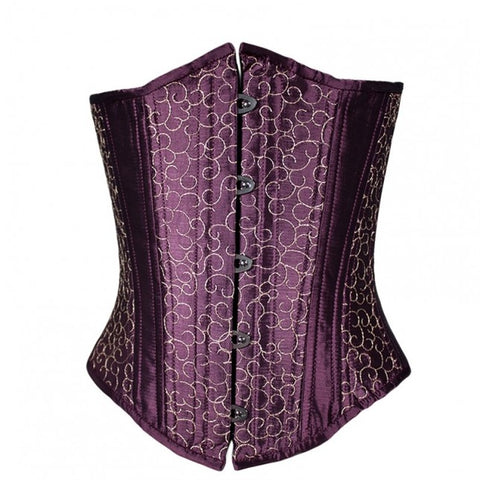 Purple Silk Embroidery Corset