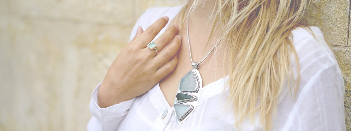 Jewellery made from recycled sea glass