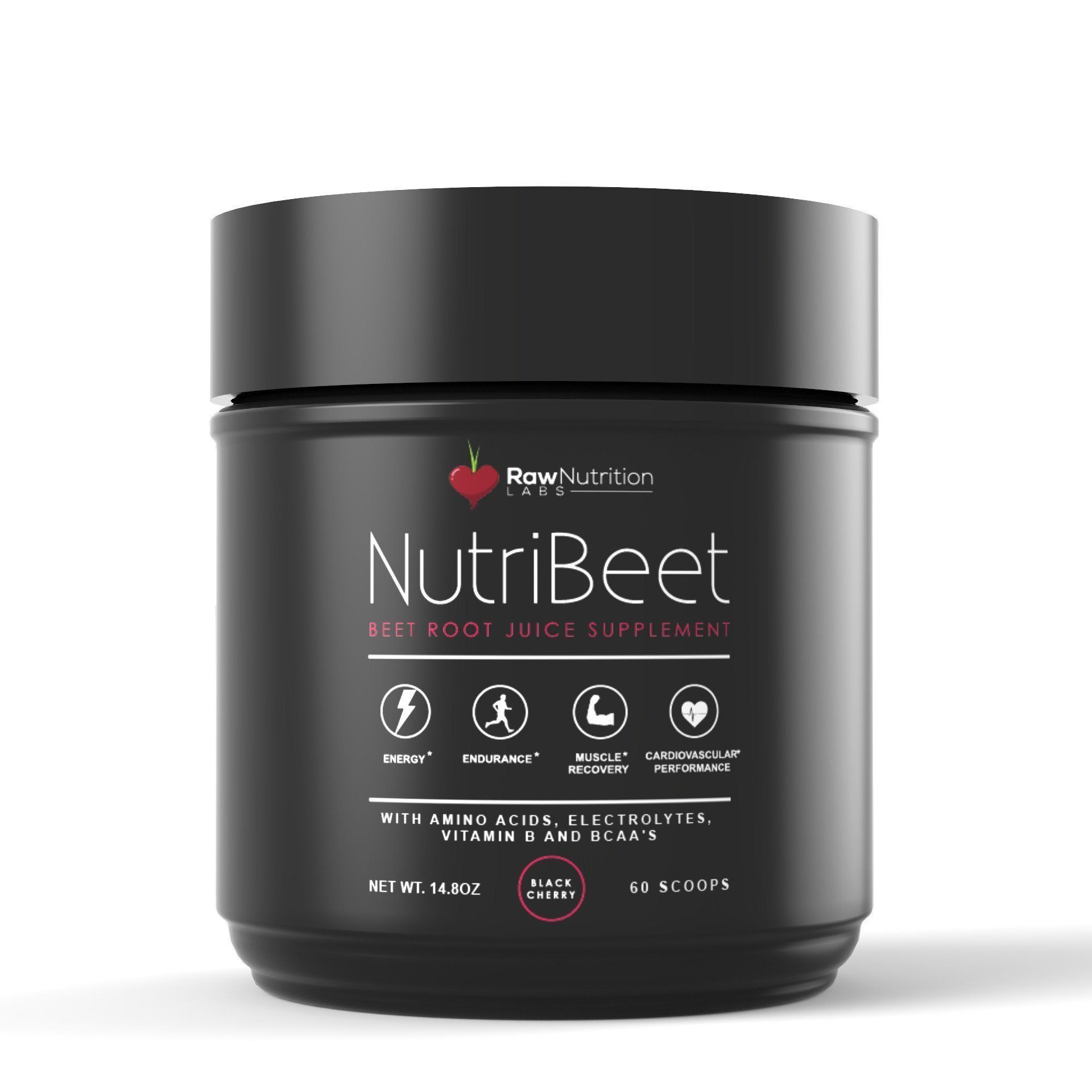NutriBeet - Nitric Oxide Optimizer - Organic Beet Root Juice Powder w/ Amino Nitrate Matrix, Electrolytes, Vitamin B Energy Boost & BCAA Recovery Support - Extended Performance Formula (60 scoops) - Raw Nutrition Labs