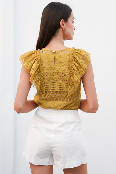 Sexy sleeveless ruffle lace blouse women O neck transparent white blouse shirt 2018 Elegant summer blusa feminian top