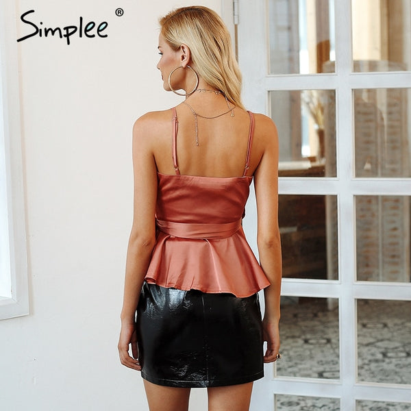 Simplee Sexy wrap v neck satin cami tops Spaghetti strap summer peplum top Elegant ladies 2018 new solid ruffle shirt