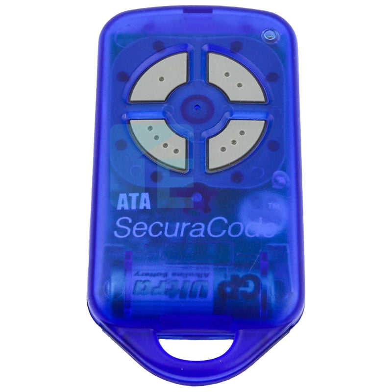 ATA PTX4 Securacode Garage Door Blue Remote Transmitter, Holder & Visor Clip