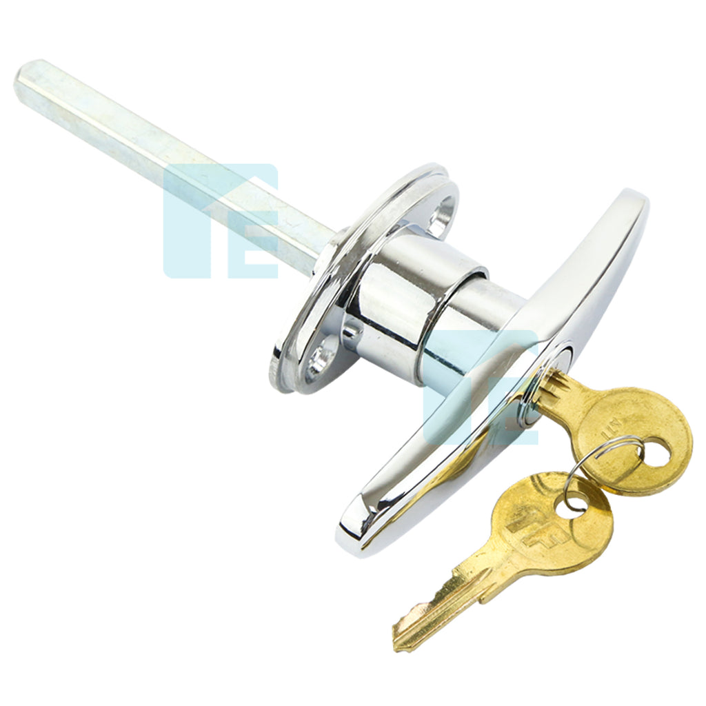T Handle Lock & Keys Suits Tilt & Sectional Garage Doors Lock Chrome Small