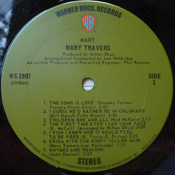 Mary Travers : Mary (LP, Album, Pit)