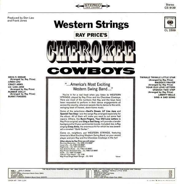 Ray Price's Cherokee Cowboys* : Western Strings (LP)