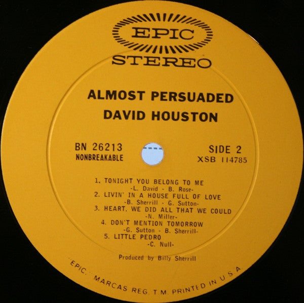 David Houston : Almost Persuaded (LP, Album, San)