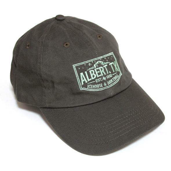 Albert Icehouse Dad Cap, Brown w/ Green Thread