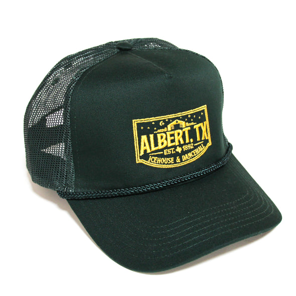 Albert Icehouse Trucker Hat, Dark Green w/ Yellow Thread
