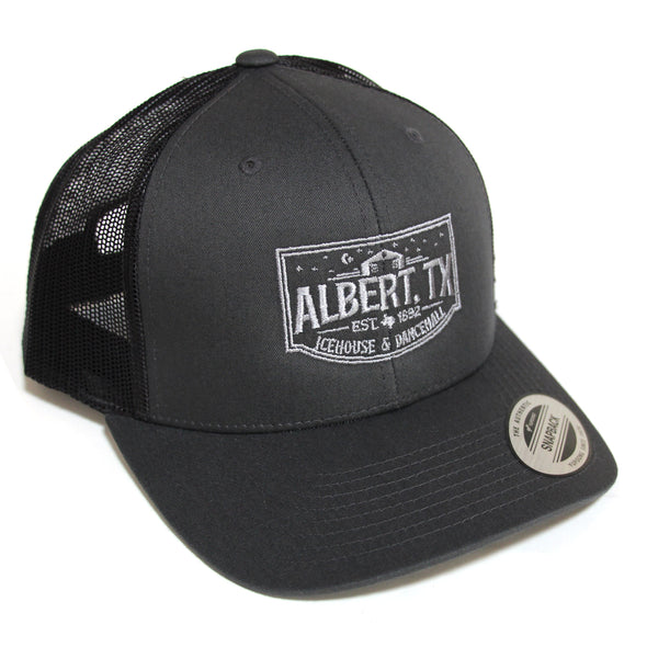 Albert Icehouse Trucker Hat, Dark Grey w/ Grey Thread
