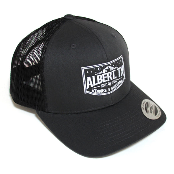 Albert Icehouse Trucker Hat, Dark Grey w/ White Thread