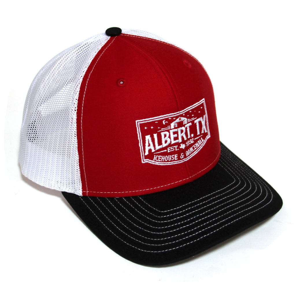 Albert Icehouse Trucker Hat, Red White & Black