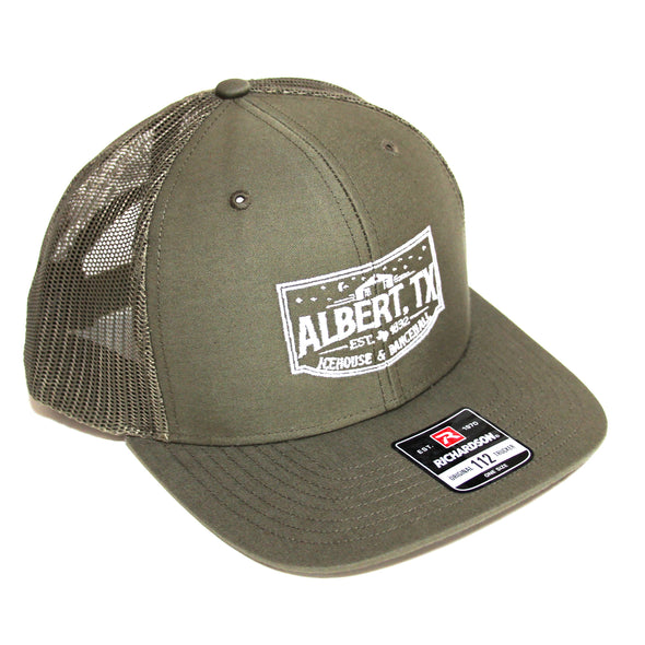 Albert Icehouse Trucker Hat, Sage Green w/ White Thread