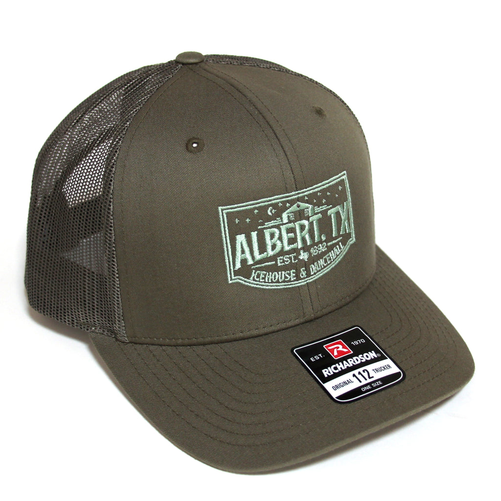 Albert Icehouse Trucker Hat, Sage Green w/ Green Thread