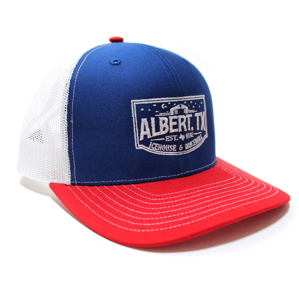 Albert Icehouse Trucker Hat, Red White & Blue