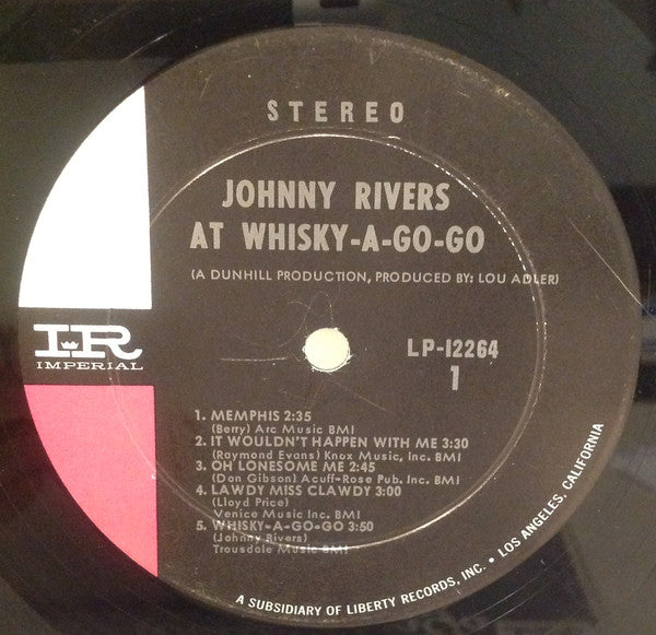 Johnny Rivers - Johnny Rivers At Whiskey-Go-Go (LP) (G+)