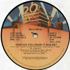 "Barry White - How Did You Know It Was Me? (12"", Mono, Promo) (VG+)"