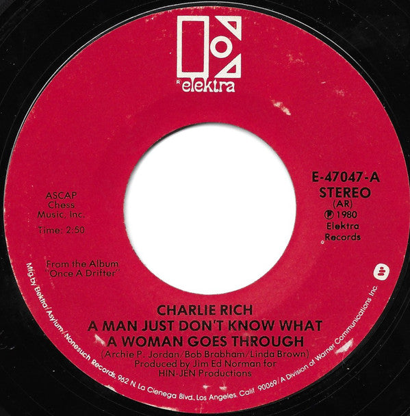 "Charlie Rich - A Man Just Don't Know What A Woman Goes Through / Marie (7"", Single, Styrene, All) (VG+)"