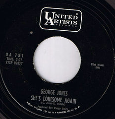 "George Jones (2) - The Race Is On / She's Lonesome Again (7"", Single, Mon) (VG)"