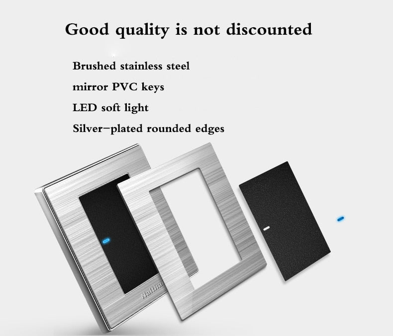 Enchufe de pared con led de acero inoxidable. Interruptor de 1, 2, 3 Entradas, 1, 2 vías