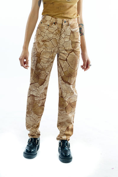 Vintage 90's Cracked Earth Print Pants - XS