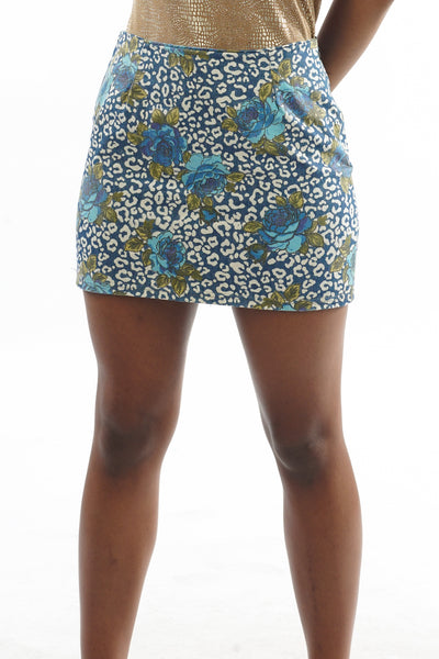 Y2K Blue Leopard & Rose Print Mini Skirt - XS