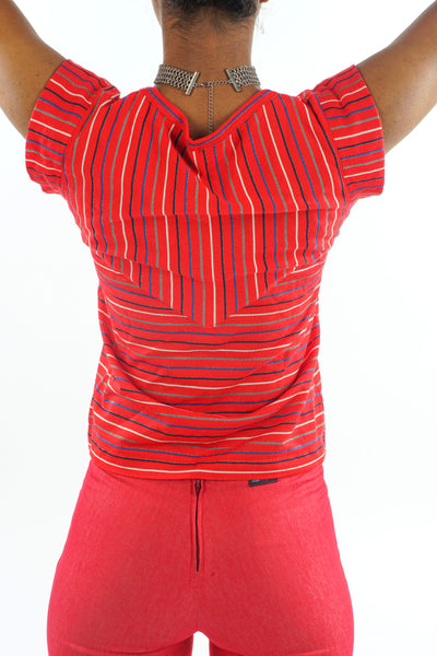 Vintage 70s Sparky Red Stripped Blouse - XS/S