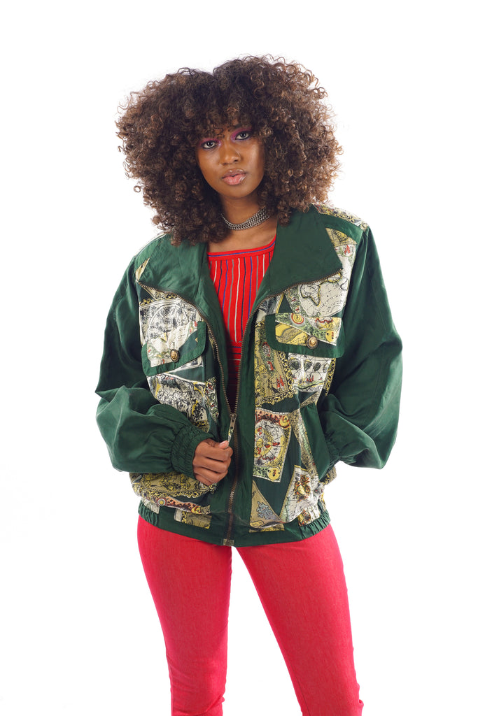 Vintage 80\'s/90\'s Windbreaker World Maps Printed Jacket - One Size Fits Up  To L