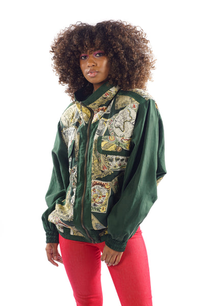 Vintage 80's/90's Windbreaker World Maps Printed Jacket - One Size Fits Up To L