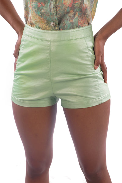 Current Faux-Leather Mint Green Shorts - XS