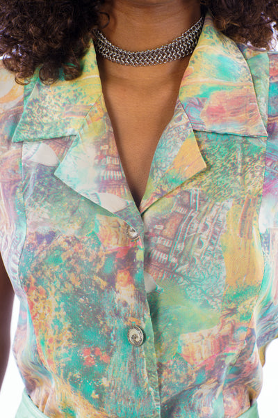 Vintage 90s Multicolored Sleeveless Button-Up - XS/S/M