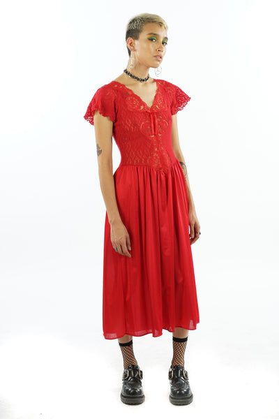 Vintage 90's Red Lace Slip Dress - Fits Up To Medium