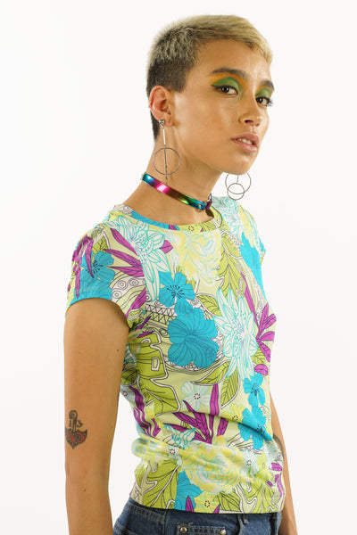 Vintage 90s Floral Jungle Tee - XS/S