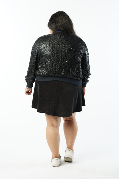 Vintage 90s Black Sequin Bomber Jacket - One Size Fits Up To 2X