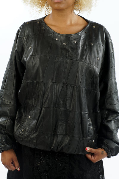 Vintage 90's Leather Textured Pullover Jacket - M/L