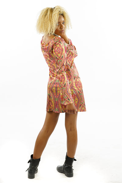 Vintage 90's Trippy Bell-Sleeved Dress - M/L