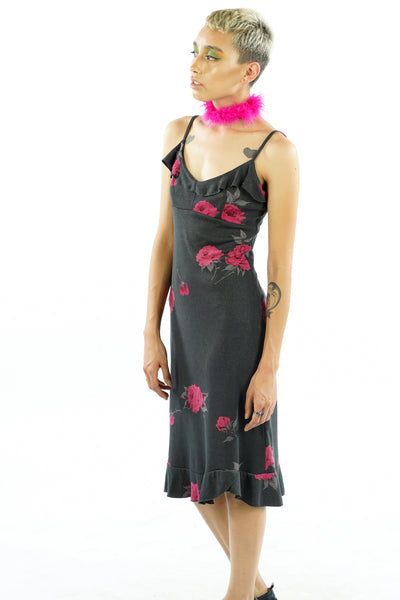 Vintage 90's Rosebuds and Ruffles Slip Dress - XS/S