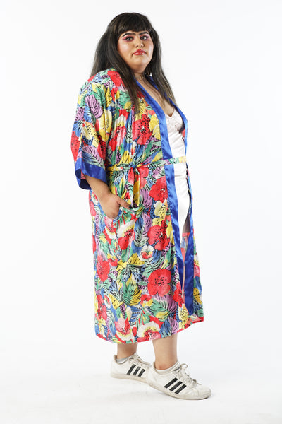 Vintage 90s Abstract Leaves + Flowers Leisure Robe w/ Blue Trimming - One Size Fits Up To 3XL