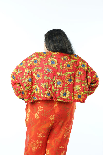 Vintage 80s Wide Crop SunFlower Jacket - One Size Fits Up To 4X